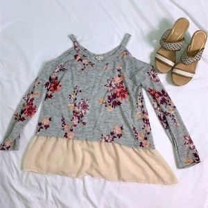 About a Girl Cold Shoulder Floral Top